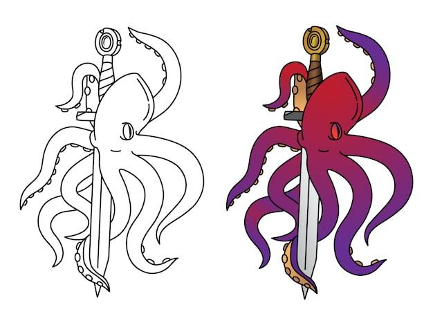 Kleur octopus met monster