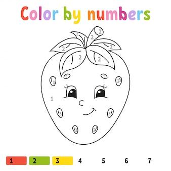 Kleur op nummer aardbei. kleurboek voor kinderen. voedsel karakter.