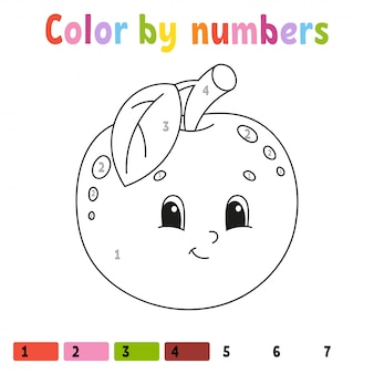 Kleur op nummer appel werkblad