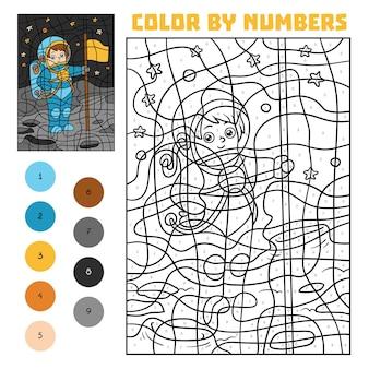 Kleur op nummer, educatief spel voor kinderen, astronaut