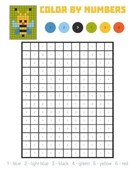 Kleur op nummer, educatief spel voor kinderen, bee