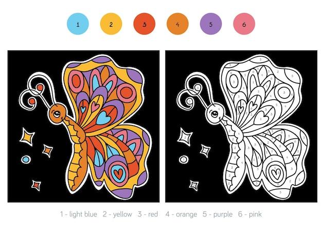 Kleur op nummer, educatief spel voor kinderen, butterfly