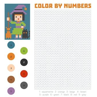 Kleur op nummer, educatief spel voor kinderen, heks