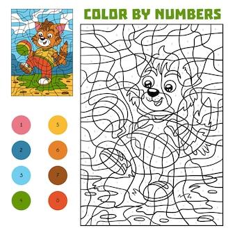 Kleur op nummer, educatief spel voor kinderen, kat met een bal