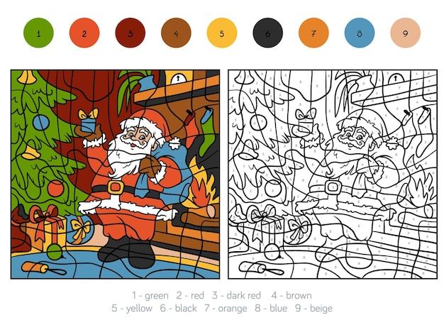 Kleur op nummer, educatief spel voor kinderen, kerstman en cadeau