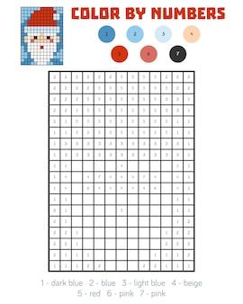 Kleur op nummer, educatief spel voor kinderen, kerstman
