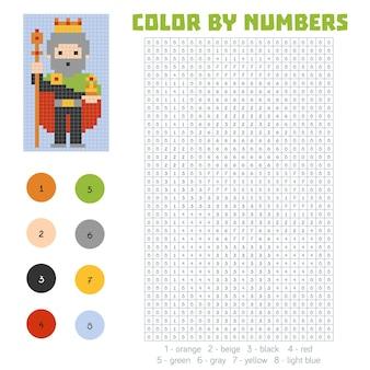 Kleur op nummer, educatief spel voor kinderen, king