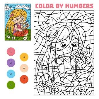 Kleur op nummer, educatief spel voor kinderen, meisje met een bloem
