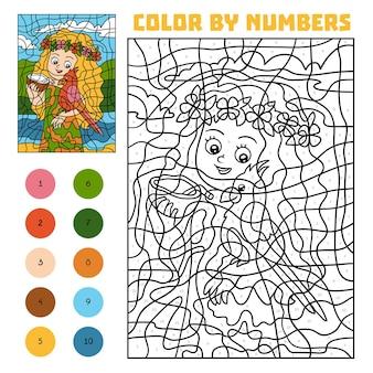 Kleur op nummer, educatief spel voor kinderen, meisje met een papegaai