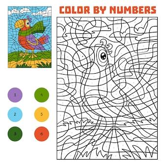 Kleur op nummer, educatief spel voor kinderen, papegaai in een sjaal