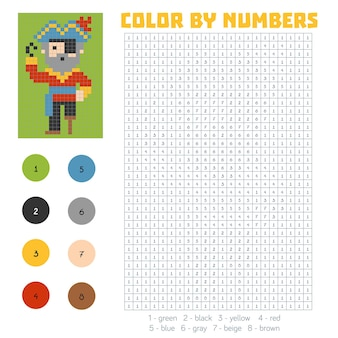 Kleur op nummer, educatief spel voor kinderen, pirate