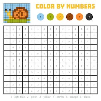Kleur op nummer, educatief spel voor kinderen, slak