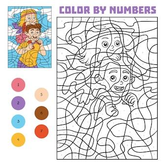 Kleur op nummer, educatief spel voor kinderen, vader en dochter