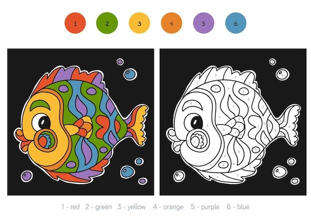 Kleur op nummer, educatief spel voor kinderen, vis