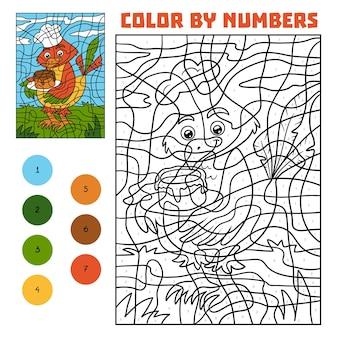 Kleur op nummer, educatief spel voor kinderen, vogel met taart
