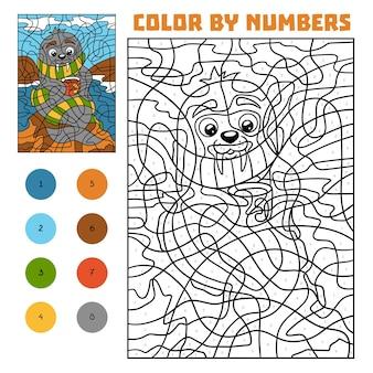 Kleur op nummer, educatief spel voor kinderen, walrus op het strand