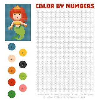 Kleur op nummer, educatief spel voor kinderen, zeemeermin