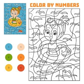 Kleur op nummer, educatief spel voor kinderen, zwemmeisje