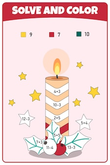 Kleur op nummer educatief spel voor scholieren en kleuters. wiskundige oefeningen over aftrekken en optellen. educatieve pagina voor wiskunde babyboek.