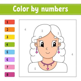 Kleur op nummer. het mooie meisje met krullend haar glimlacht.