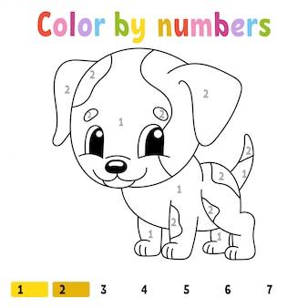 Kleur op nummer hond werkblad