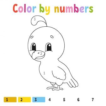 Kleur op nummer. kleurboek voor kinderen. vrolijk karakter.