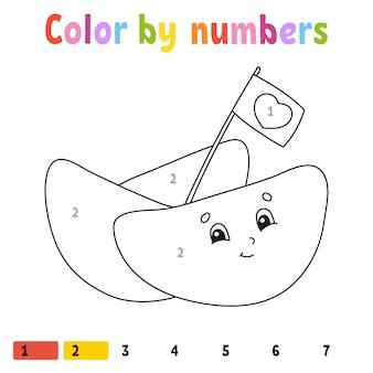 Kleur op nummer. kleurboek voor kinderen.