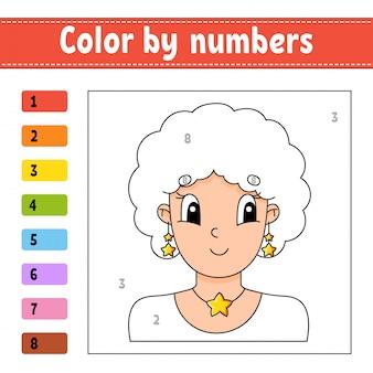 Kleur op nummer. mooi meisje. activiteit werkblad. spel voor kinderen.