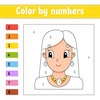 Kleur op nummer. mooi meisje. activiteit werkblad.
