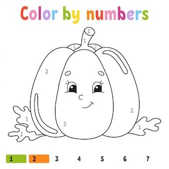 Kleur op nummer pompoen. kleurboek voor kinderen. plantaardig karakter.