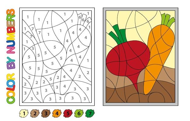 Kleur op nummer. puzzelspel voor kinderen onderwijs. cijfers en kleuren voor het tekenen en leren van wiskunde. vector groenten