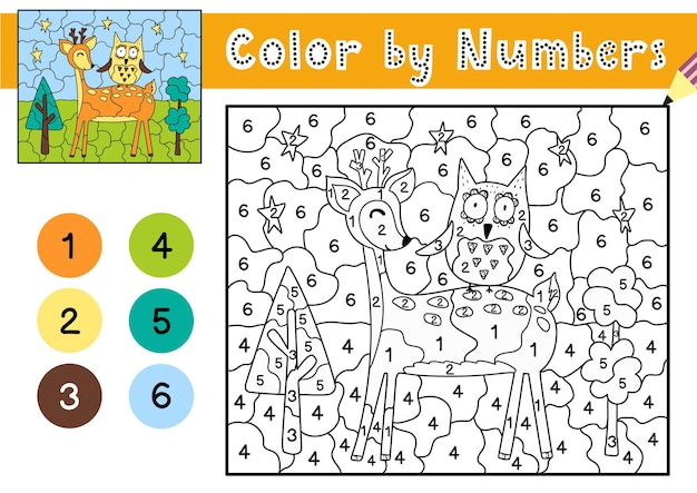 Kleur op nummer spel voor kinderen kleurplaat met een schattig hert en uil afdrukbaar werkblad met oplossing