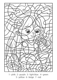 Kleur op nummer voor kinderen, meisje met een bloem
