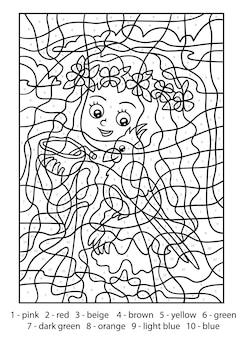 Kleur op nummer voor kinderen, meisje met een papegaai