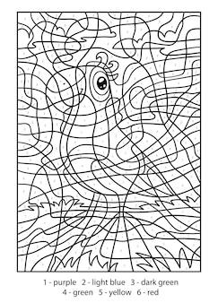 Kleur op nummer voor kinderen, papegaai in een sjaal