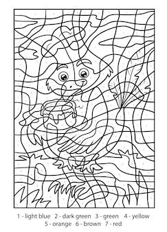 Kleur op nummer voor kinderen, vogel met taart