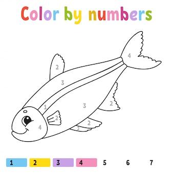 Kleur op nummer werkblad vis