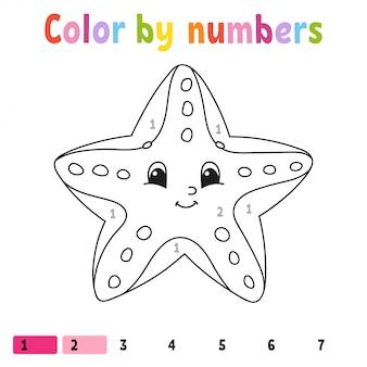 Kleur op nummer zeester werkblad