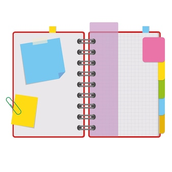 Kleur open blocnote op ringen met blanco vellen en bladwijzers tussen pagina's.