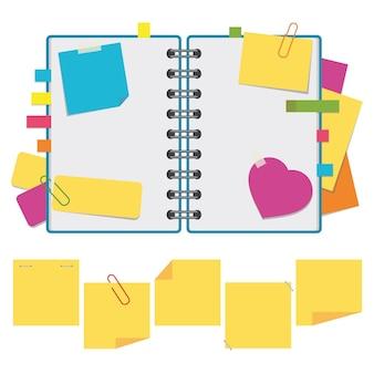 Kleur open notitieboekje op ringen met schone lakens.