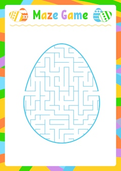 Kleur ovaal labyrint. werkbladen voor kinderen. activiteitenpagina. spelpuzzel voor kinderen.