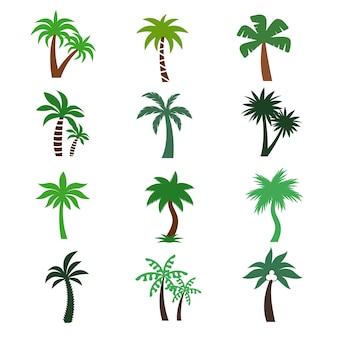 Kleur palmen vector silhouetten