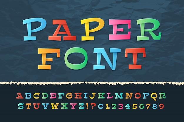 Kleur papier alfabet. grappige cartoon vakantie lettertype. schoolkinderen letters en cijfers