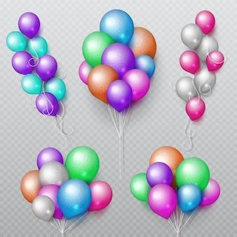 Kleur partij ballonnen trossen geïsoleerde vector set vliegen. de kleurenballon van de verjaardag voor verrassing en carnaval illustratie