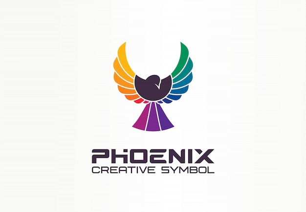 Kleur phoenix creatief symbool concept. vrijheid, gespreide adelaar, spectrum abstract bedrijfslogo idee. vogel tijdens de vlucht, regenboogpictogram.