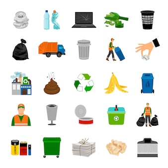 Kleur pictogrammen garbage collection en recycle teken