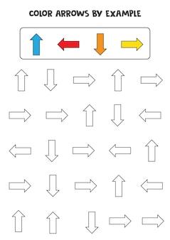 Kleur pijlen volgens het voorbeeld. rekenspel voor kinderen.