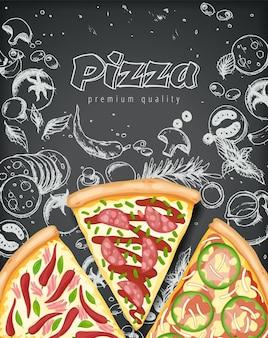 Kleur pizza poster.