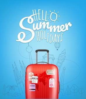 Kleur plastic reistas met verschillende reiselementen vectorillustratie hallo zomer reizen