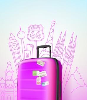 Kleur plastic reistas met verschillende reizen elementen vector illustratie. reis concept. reizen vectorillustratie